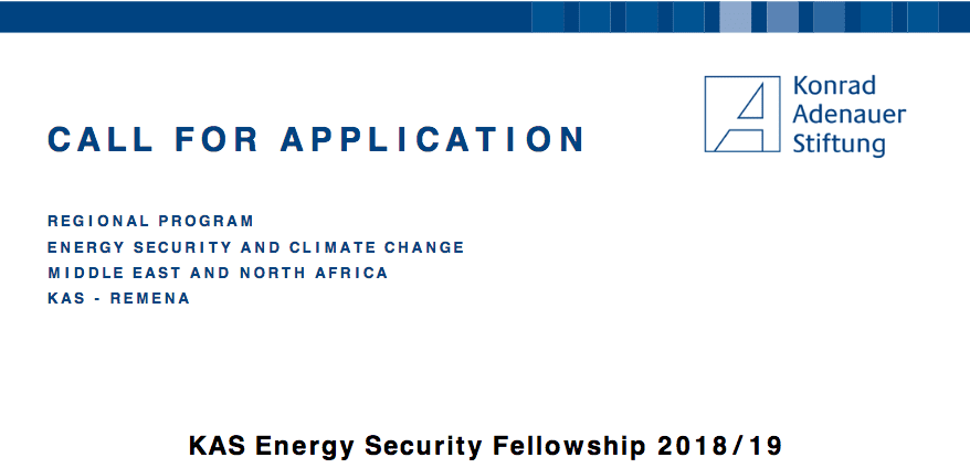 KAS Energy Security Fellowship 2018/2019 for Reseasrchers in MENA region  (£30,000+ stipend)