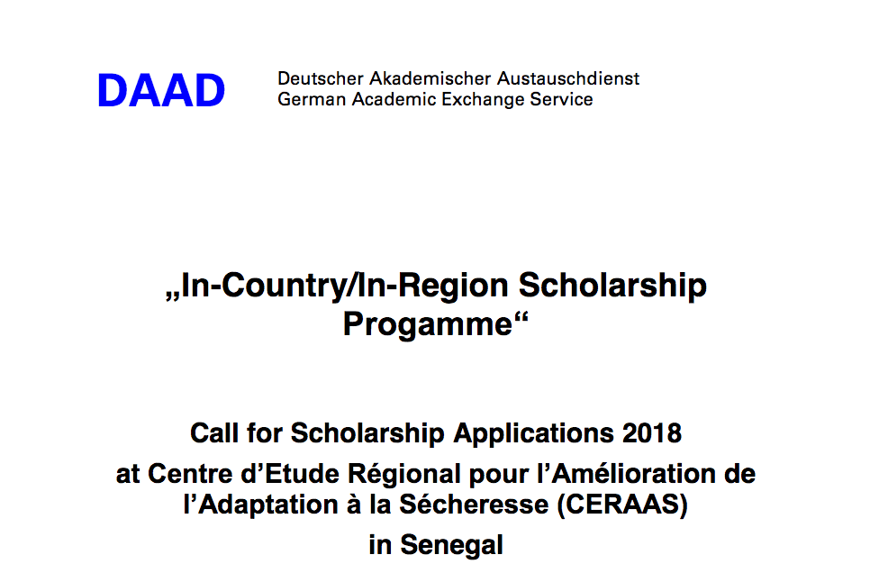 CERAAS/DAAD In-Country/In-Region PhD and Master Scholarships 2018/2019 for study in Senegal (Funded)
