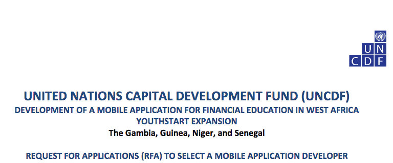 2018 UNCDF Grants for Development of a Mobile Application for Financial Education in West Africa