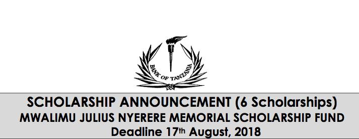 Bank of Tanzania Mwalimu Julius Nyerere Memorial Scholarship Fund 2018/2019 for young Tanzanians.