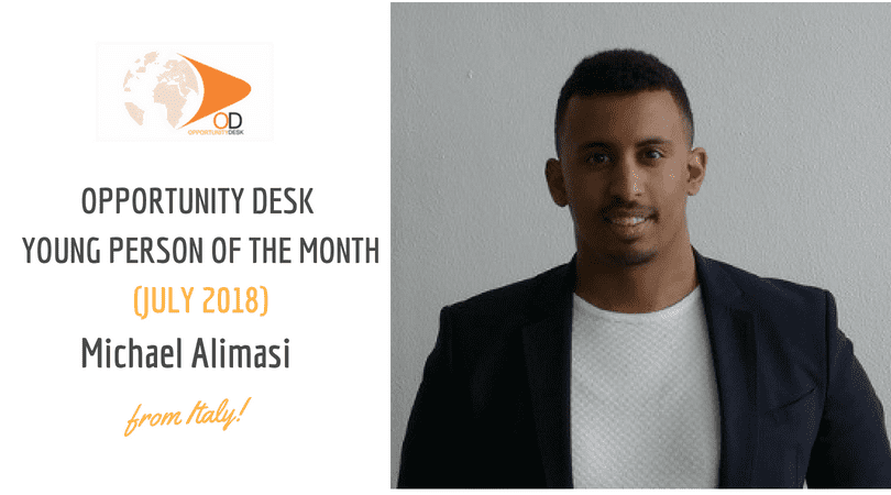 Michael Alimasi from Italy is OD Young Person of the Month for July 2018!