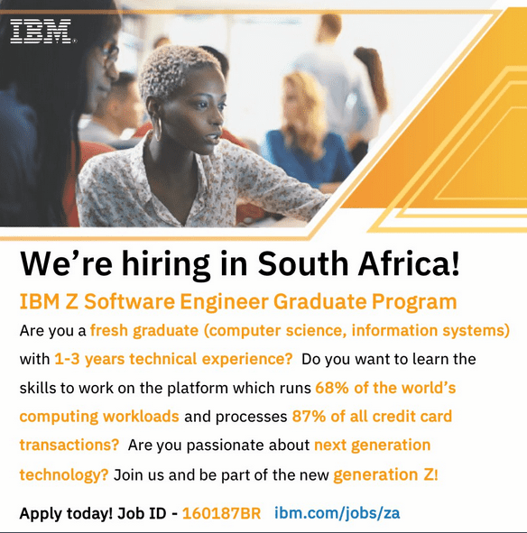 IBM Z Software Engineer Graduate Program 2018 for young South Africans