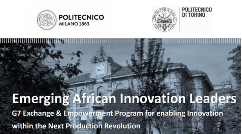 Emerging African Innovation Leaders G7 Exchange & Empowerment Program 2018 (Fully-funded to Milan, Italy)