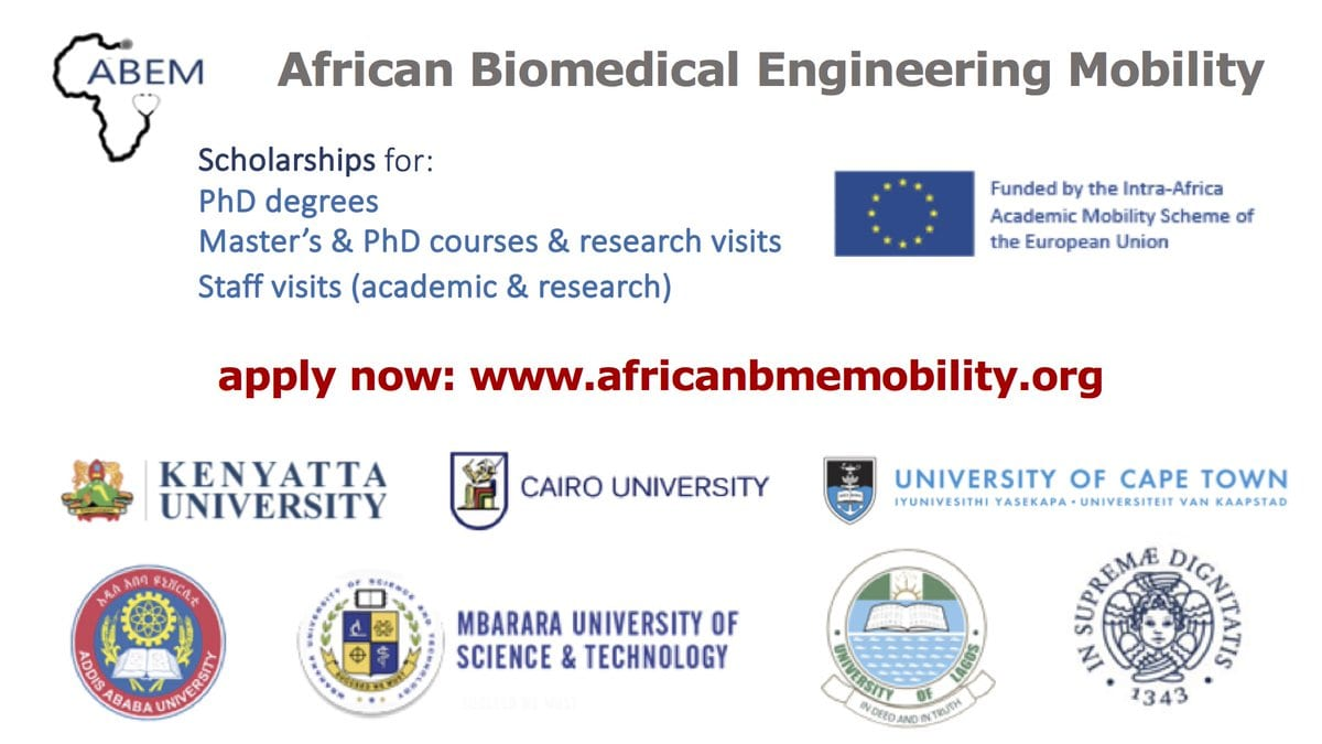 African Biomedical Engineering Mobility (ABEM) Scholarships 2018/2019 for African postgraduate students & academics (Fully Funded)