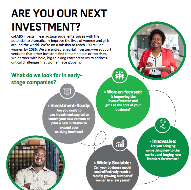 coLABS 2018 Impact Investing Fund for early-stage social enterprises (USD $50,000 -$250,000 in seed investment)