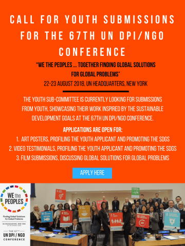 Call for Youth Submissions for the 67th UN DPI/NGO Conference 2018 – New York, USA