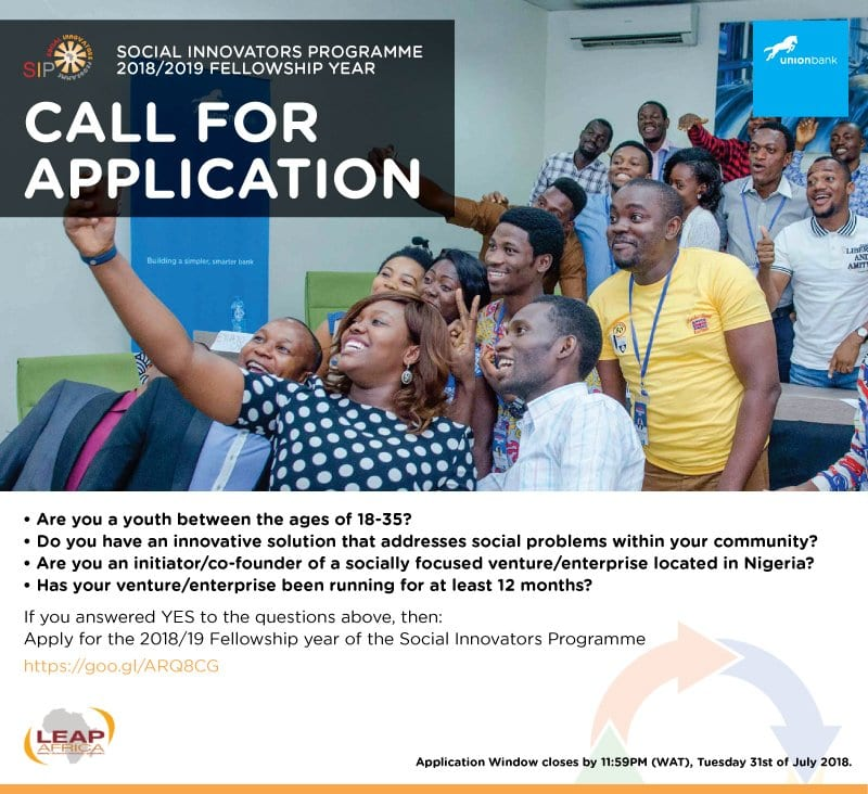 LEAP Africa's Social Innovators Programme and Awards (SIPA) 2018/2019 for young Nigerian Social Entrepreneurs.