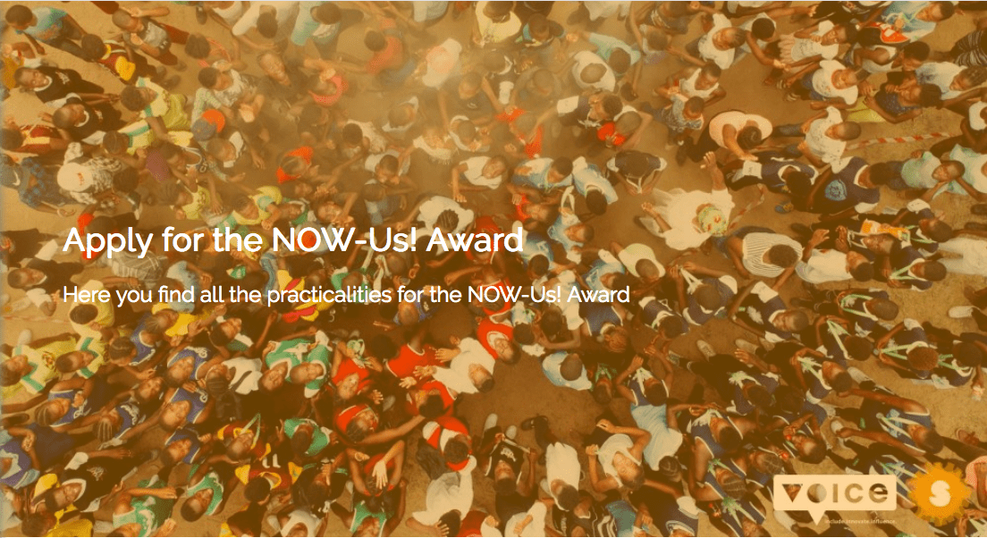 NOW-Us! (NOthing about us, Without Us) Award 2018 : Call for Inclusive Initiatives ( 25,000 Euros & Funded trip to Amsterdam, Netherlands)