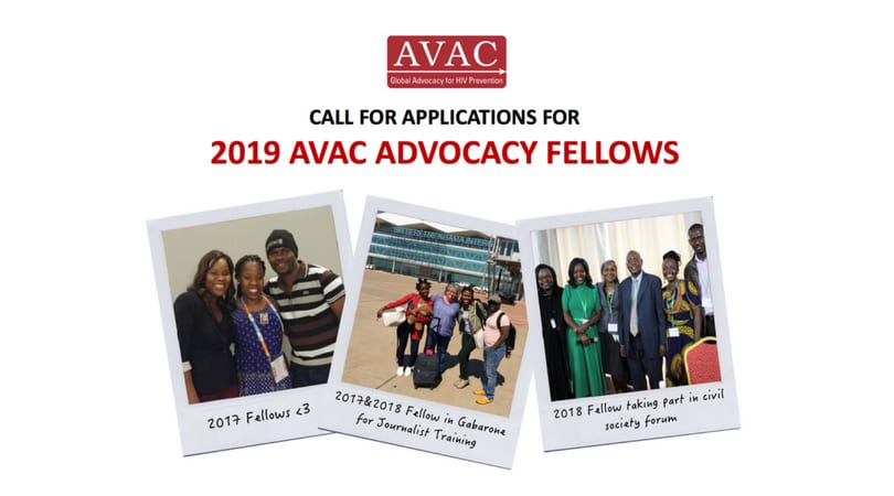 AVAC Advocacy Fellows Program 2019 for mid-career & emerging advocates on HIV prevention (Funded)
