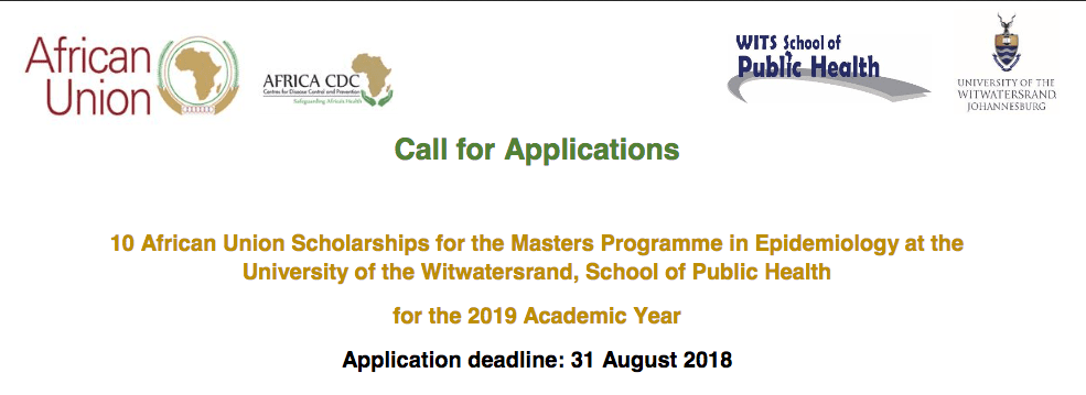 2019 African Union Scholarships for the Masters Programme in Epidemiology at the University of the Witwatersrand, School of Public Health (Fully Funded)
