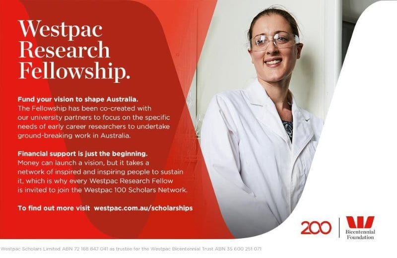 Westpac Bicentennial Foundation Research Fellowship 2018-2019 (Up to $400,000)