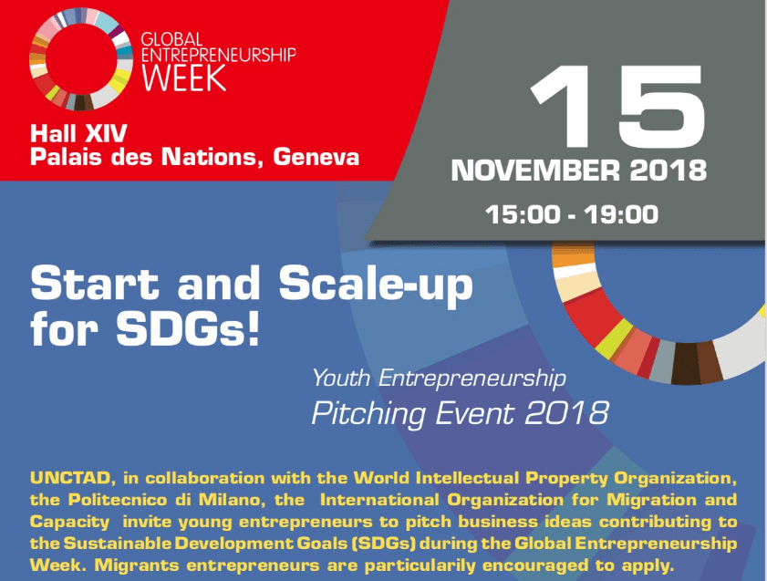 Global Entrepreneurship Week (GEW) 2018 Start and Scale-up for SDGs Youth Entrepreneurship Pitching Event (US$ 15,000 in funding)