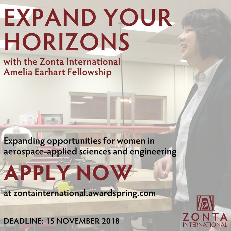 Zonta International Amelia Earhart Fellowships 2019 for Women in Science & Engineering (US$10,000/Awardee)