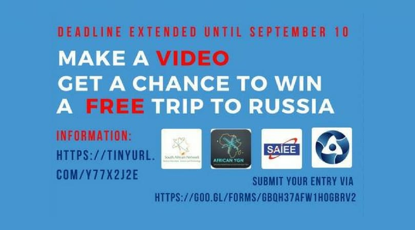 Atoms Empowering Africa Youth Video Competition 2018 (Win an all-expenses paid trip to Russia)