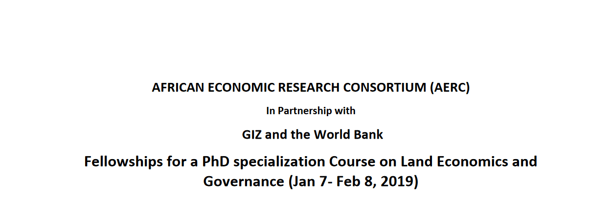 African Economic Research Consortium (AERC)/World Bank 2018 Fellowships for a PhD specialization in Africa (Fully Funded)