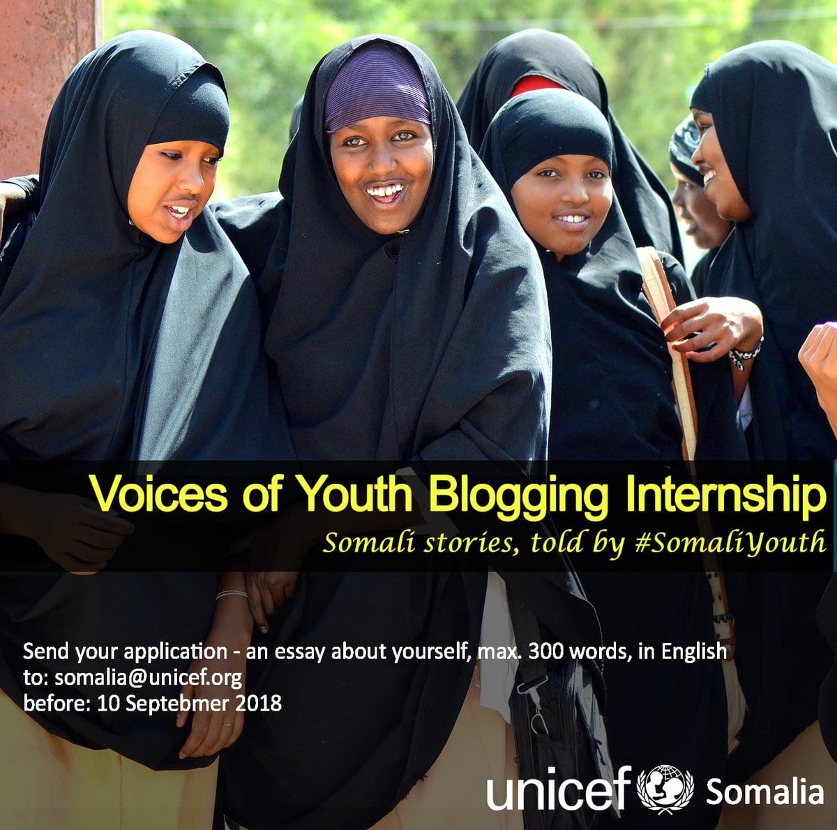 UNICEF Somalia Voices of Youth Blogging Internship 2018 for young Somalis.