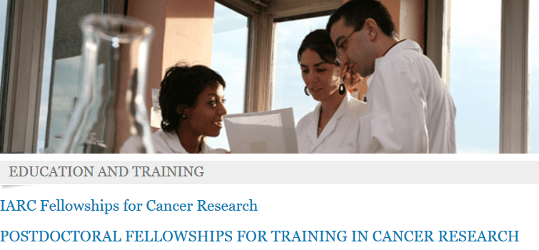 International Company for Research Study on Cancer (IARC) Postdoctoral Research Study Training Fellowships 2019/2020(Totally Moneyed to Lyon, France)