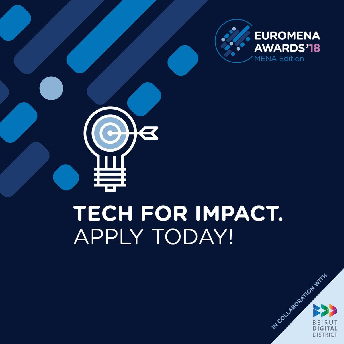 Euromena Awards 2018 for start-ups promoting ICT and social advancement in MENA area (15,000 USD Reward)