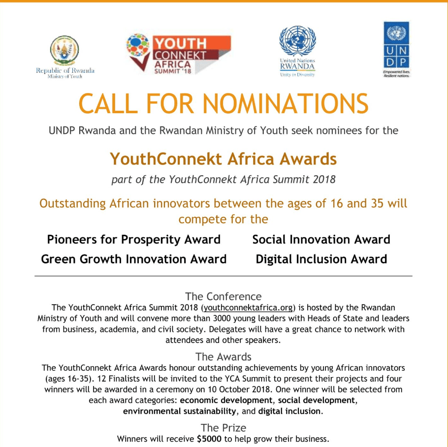 YouthConnekt Africa Awards 2018 for Exceptional African innovators ($20,000! reward)