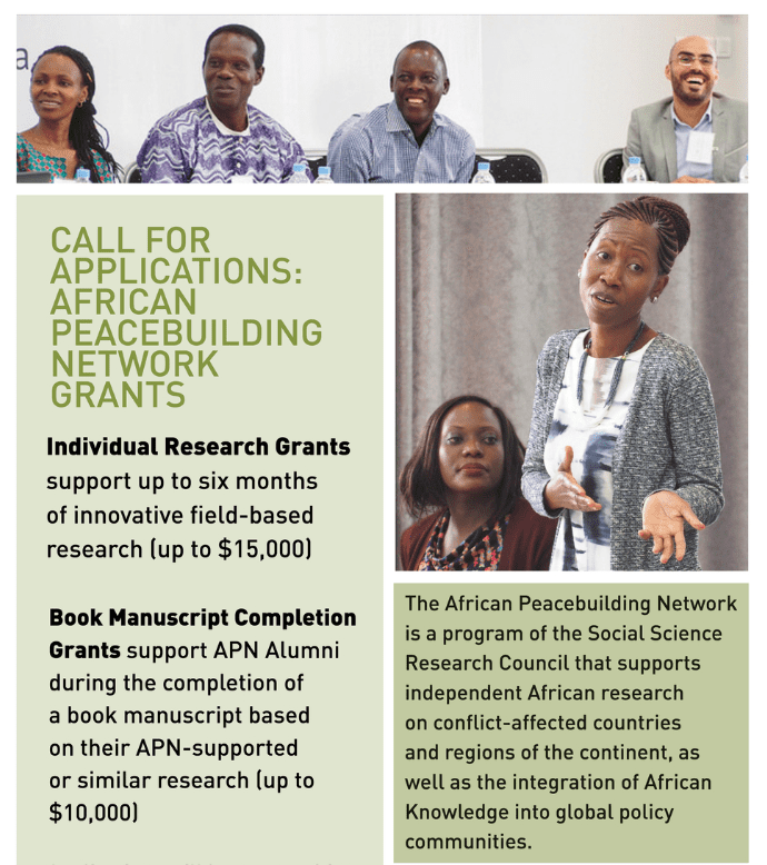 Social Science Research Study Council (SSRC) African Peacebuilding Network (APN) Research Study Grants 2019 for African Scientists (as much as $15,000)