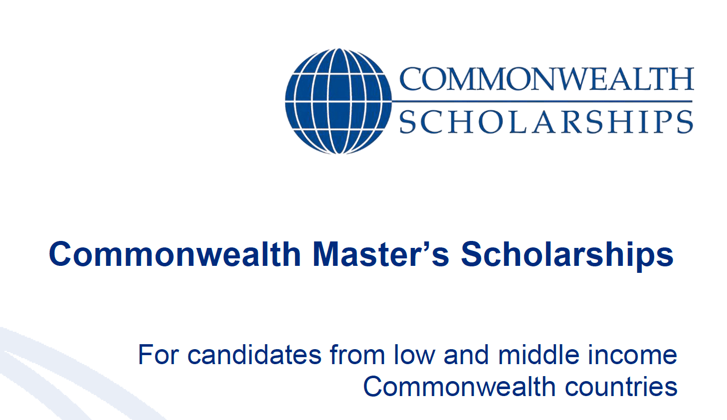 Commonwealth Master's Scholarships 2019 for full-time Master's research study at a UK university (Totally Moneyed)