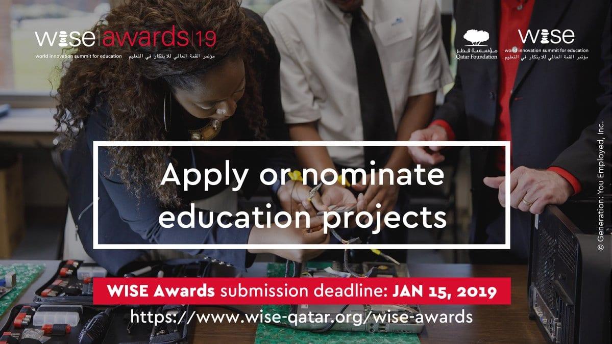 World Development Top for Education (WISE) Awards Program 2019 ($ USD 20,000 reward) for education tasks