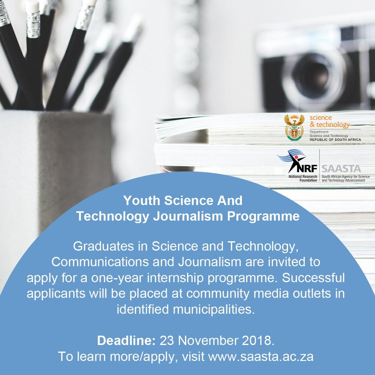 The Department of Science and Innovation (DST) Youth Science & & Innovation Journalism 1 year Internship Program 2018/2019 for young South Africans