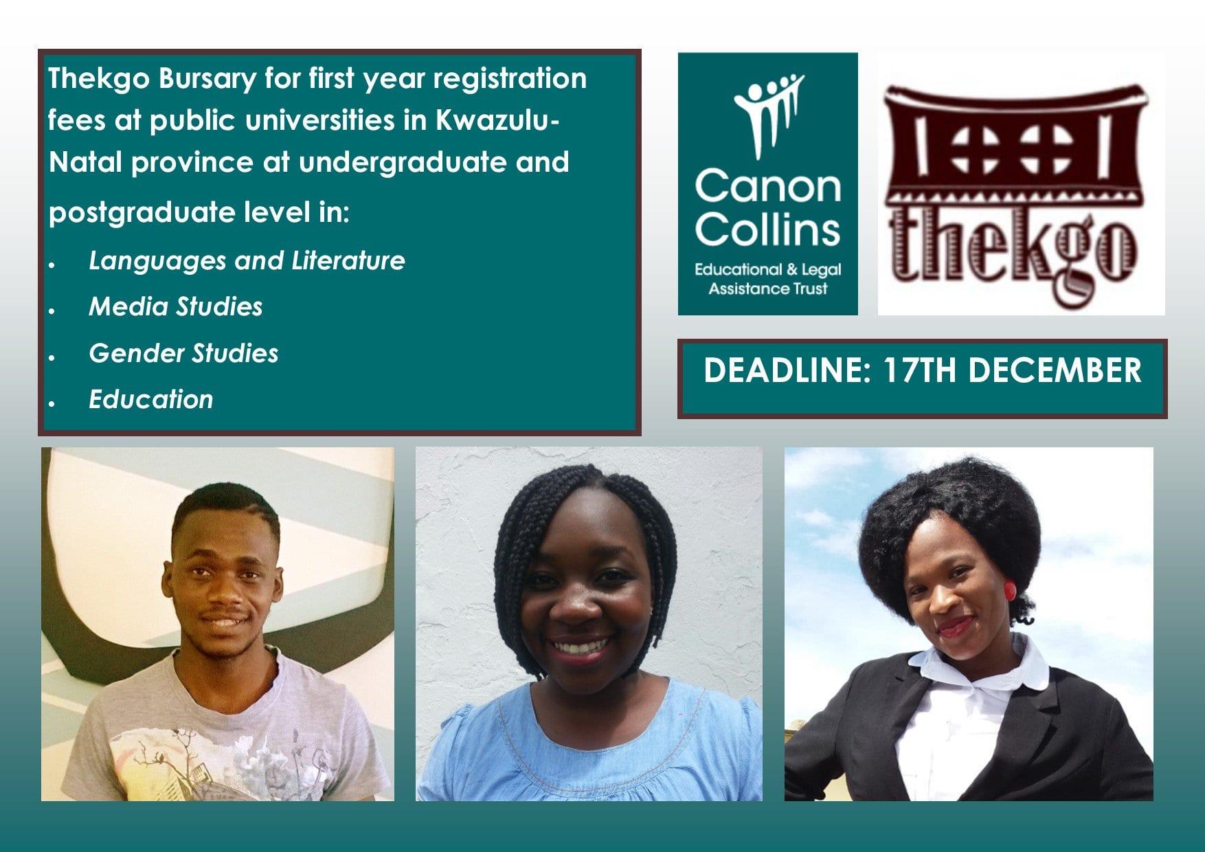Canon Collins Thekgo (Undergrad & & Postgraduate )Bursary 2019 for Research Study in South Africa.