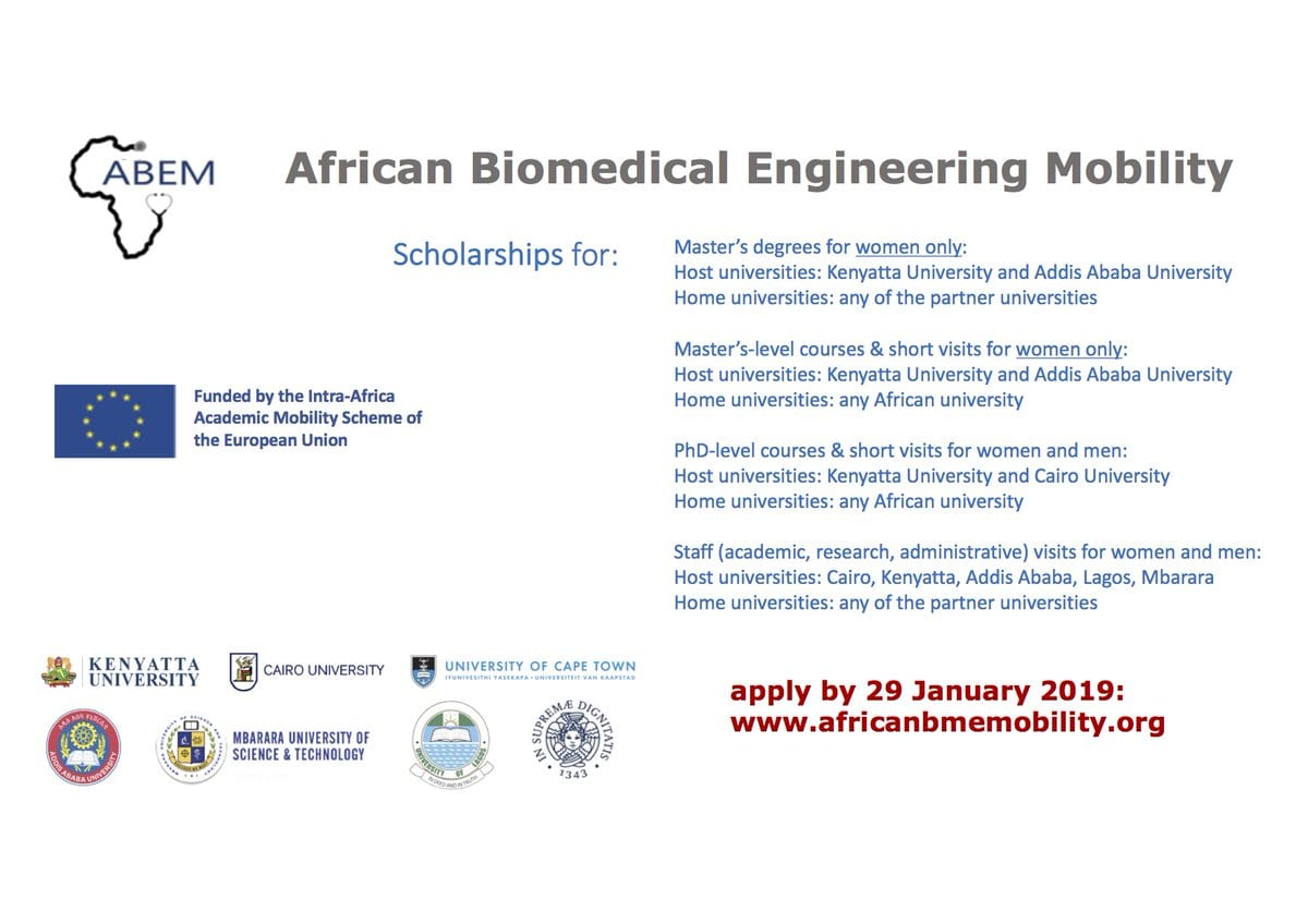 African Biomedical Engineering Movement (ABEM) Scholarships 2019/2020 for African postgraduate trainees & & academics (Completely Moneyed)