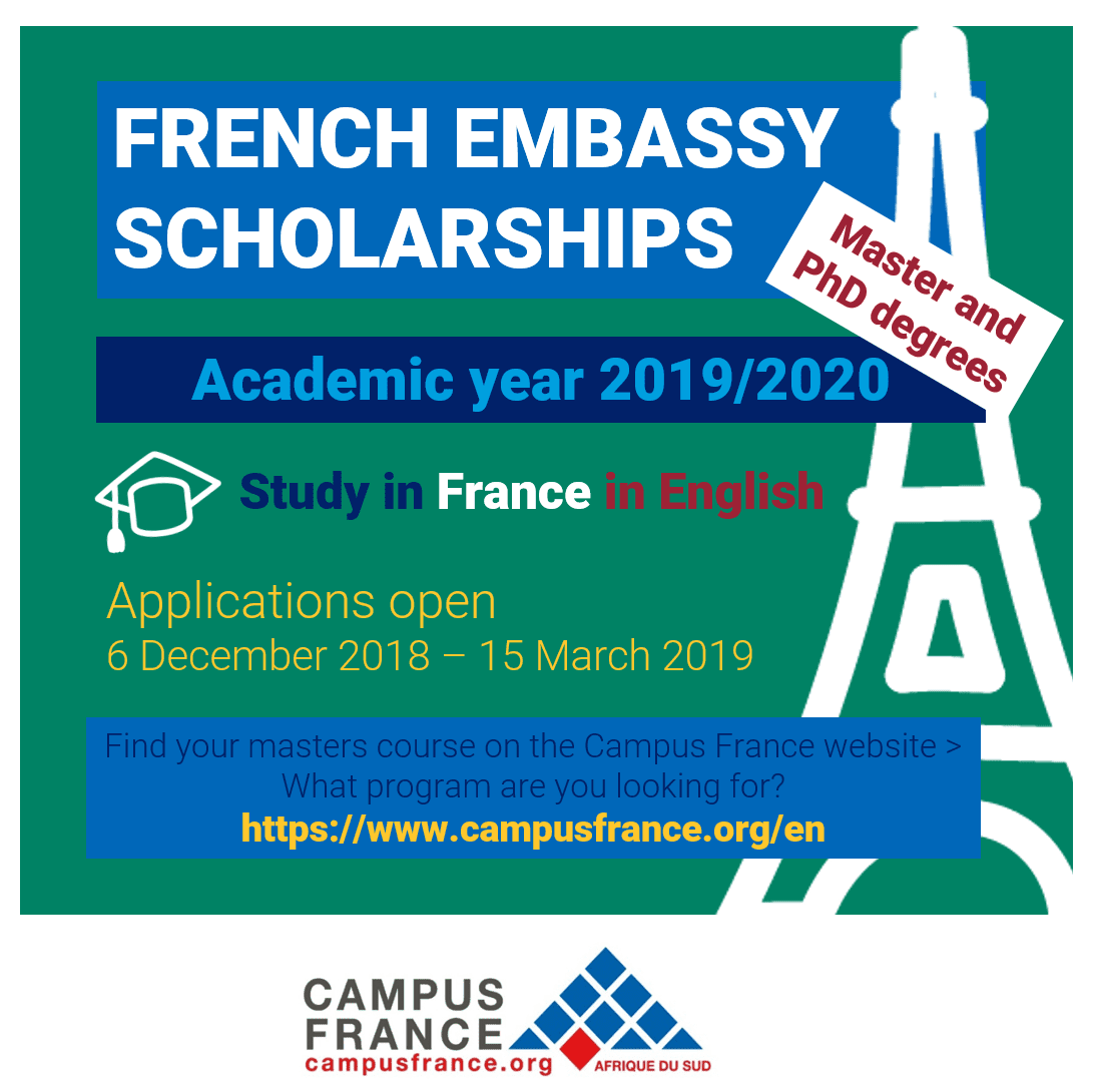 French Embassy Master and PhD scholarship program 2019/2020 for young South Africans to study in France (Completely Moneyed)