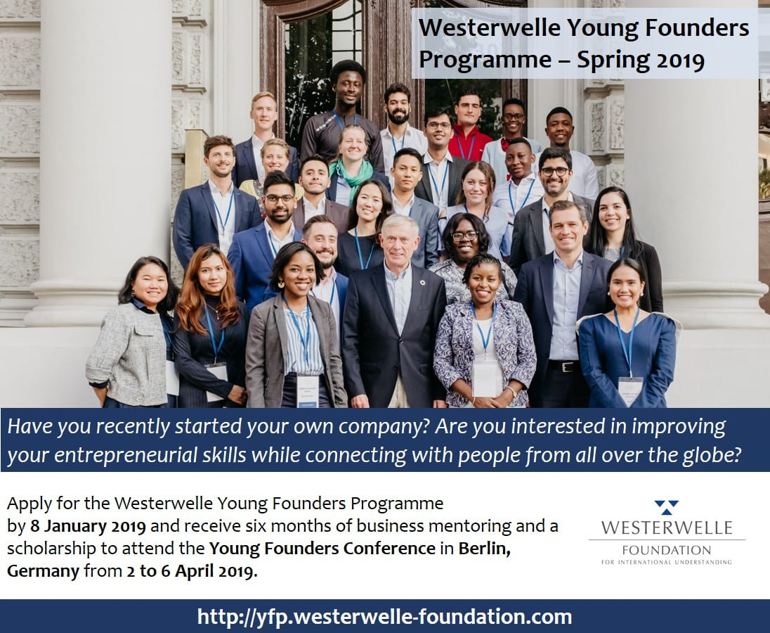 Westerwelle Young Creators Program Spring 2019 for Young Business Owners (Completely Moneyed to Berlin, Germany)