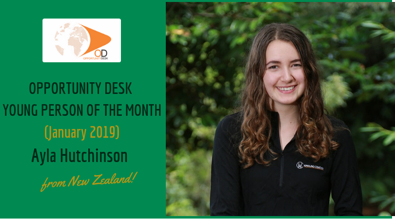 Ayla Hutchinson from New Zealand is OD Young Adult of the Month for January 2019!