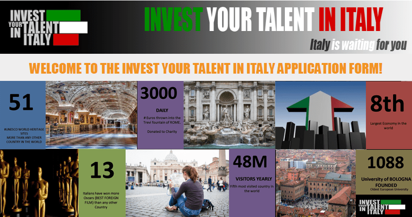 Invest Your Skill in Italy Scholarship Program 2019