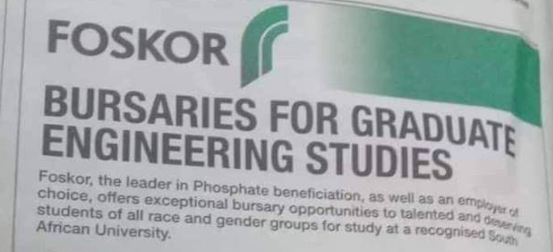Foskor Bursary Program 2019 for Graduate Engineering Research Studies in South Africa.