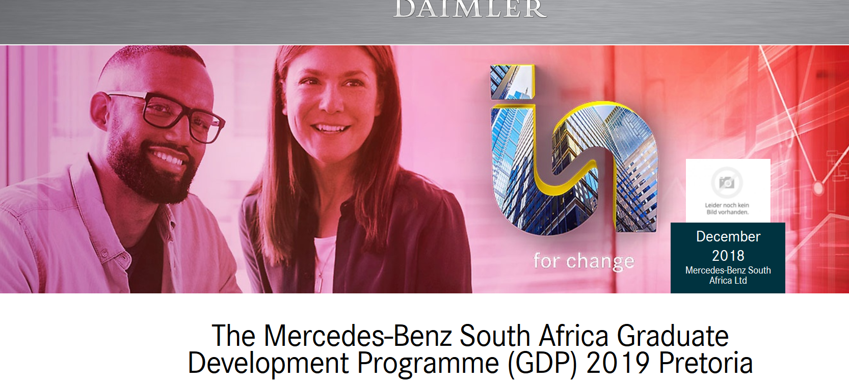 Mercedes-Benz South Africa Graduate Advancement Program (GDP) 2019 for young South Africans