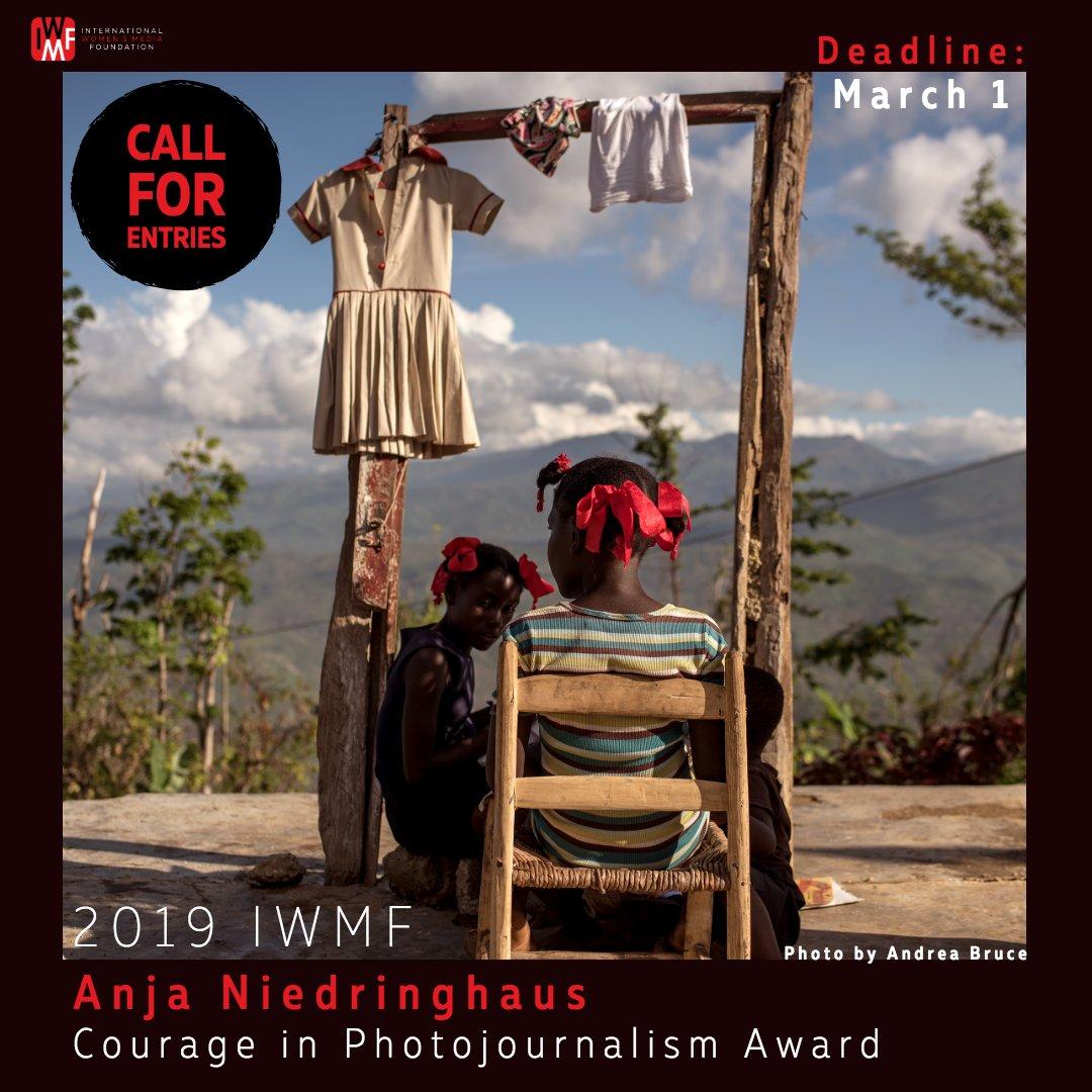 2019 IWMF Anja Niedringhaus Nerve in Photojournalism Award for ladies photojournalists ($ USD 20,00 0 prize money)
