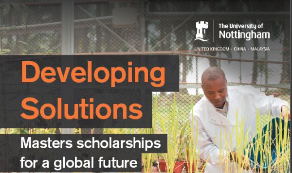 University of Nottingham Establishing Solutions Masters Scholarship 2019