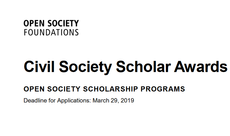 Open Society Structure Civil Society Scholar Awards (CSSA) 2019/2020 for Doctoral Trainees & & University Professors.