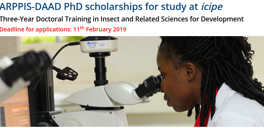 ARPPIS-DAAD PhD Scholarships 2019 for research study at the International Centre of Pest Physiology and Ecology (icipe), Kenya