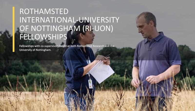Rothamsted International– University of Nottingham Fellowship 2019 (Fully-funded to the UK)