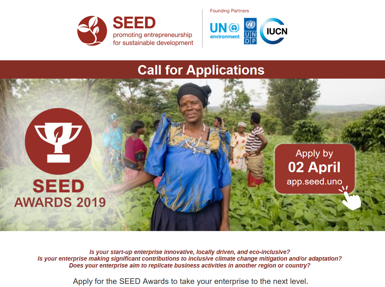 2019 SEED Awards for Entrepreneurship in Sustainable Advancement for Social & & Environmental Enterprises.