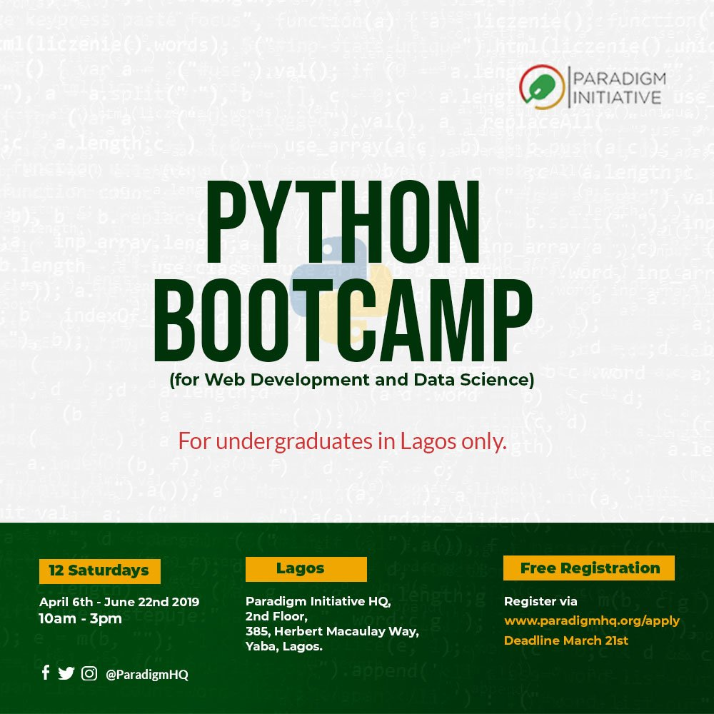 Paradigm Effort Techtiary Python Bootcamp 2019 for young undergrads based in Lagos, Nigeria (Free)
