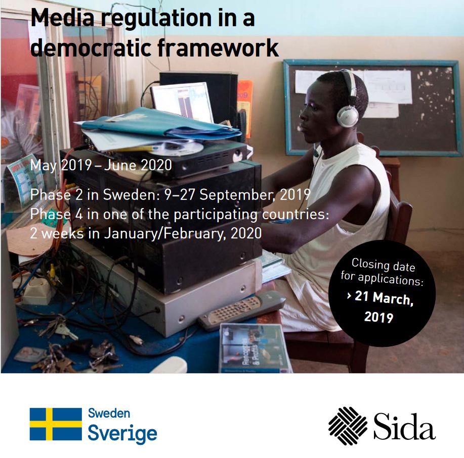 SIDA International Training Program 2019 on Self-Regulation of Media (Totally Moneyed to Sweden)