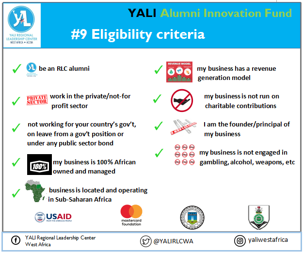 YALI West Africa Alumni Development Fund (YAIF) 2019 for emerging magnate and business owners
