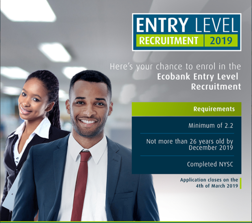 Ecobank Entry Level Recruitment 2019 for young Nigerians