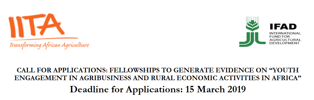 IITA 2019 Fellowships To Generate Proof On Youth Engagement In Agribusiness And Rural Financial Actions In Africa