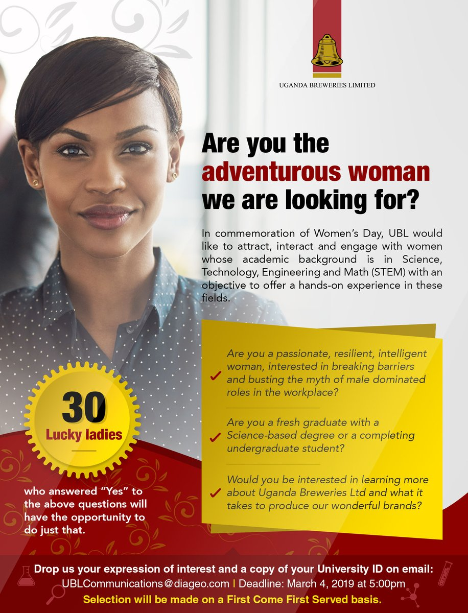 The Uganda Breweries Women's Day Recruitment Program 2019 for university students/Fresh Graduates