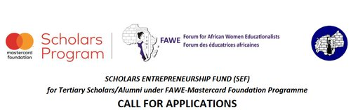 Online Forum for African Women Educationalists (FAWE) Mastercard Structure Scholars Entrepreneurship Fund (SEF) 2019