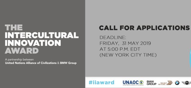2019 United Nations Alliance of Civilizations/BMW Group Intercultural Development Award (USD$100,000+ Reward)