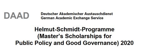 DAAD Helmut-Schmidt-Programme Master's Scholarships for Public law and Excellent Governance 2020 for Research Study in Germany (Totally Moneyed)